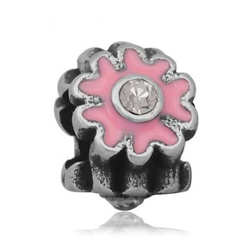 Berloque de aço inoxidável FLOR Rosa Strass