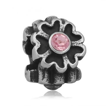 Berloque de aço inoxidável FLOR Strass Rosa