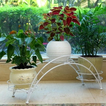 Floreira Suporte Vaso Jardineira De 3 Flores Em Ferro Arquea
