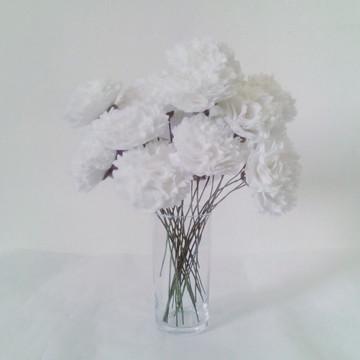 Flores de Feltro - 25 Cravos Brancos