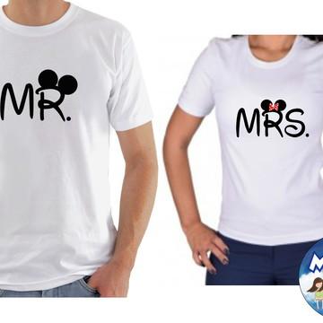 Kit camiseta personalizadas namorados casal c/2 MR & MRS