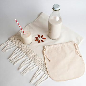 Coador algodão orgânico P leite vegetal vegano nut milk bag