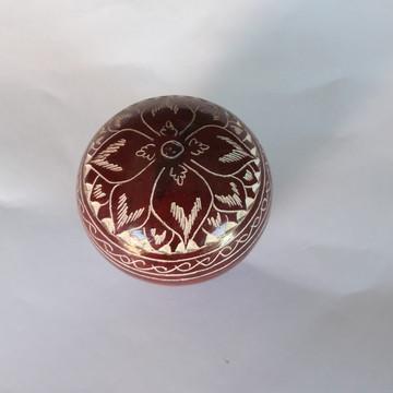 Porta joias decorado feito em pedra sabão COR VERMELHA