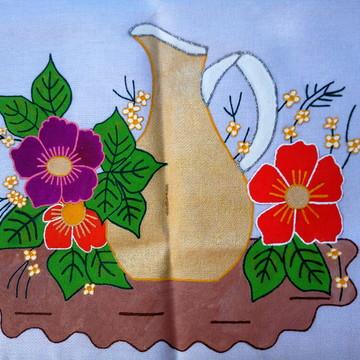 Pano de prato jarro e as flores