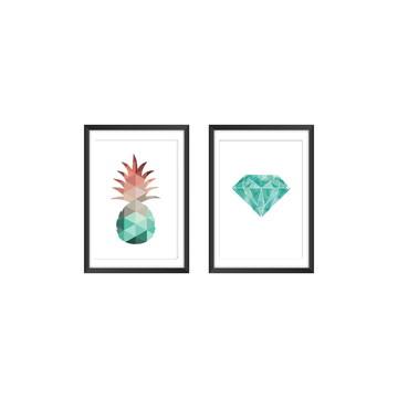 Dupla de Quadros com Posteres Geométricos, Moldura e Vidro