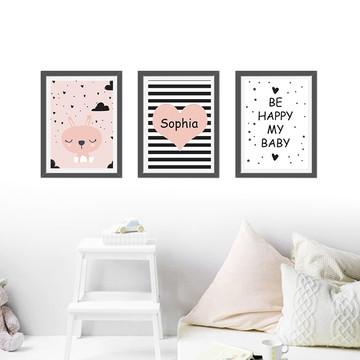 kit Poster menina, be happy my baby, nome personalizado