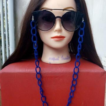 Cordão Salva Óculos de Camurça Azul