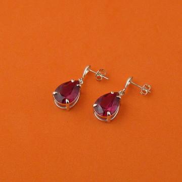 Brincos de prata, nano cristal ruby