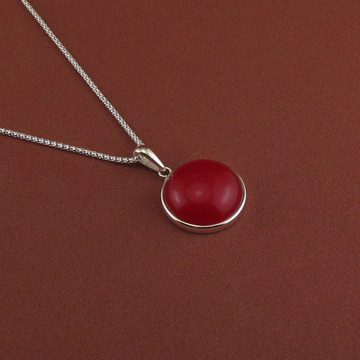 Gargantilha de prata, ágata vermelha