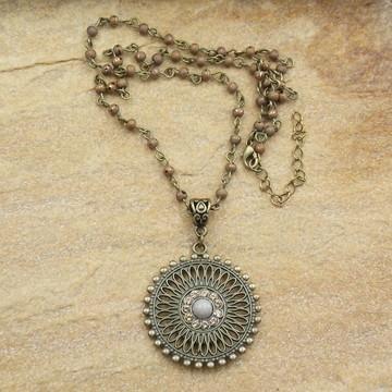 Gargantilha mandala ouro velho bijuterias acessorios
