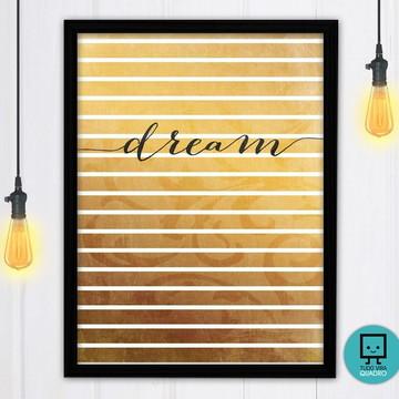 """Quadro decorativo """"Dream"""" - 32x24cm - Estampa em tecido"""