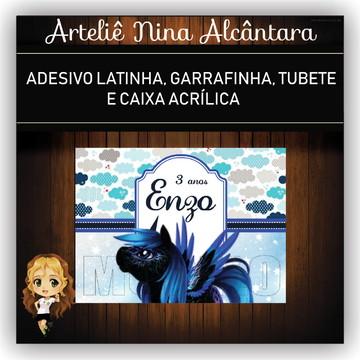 Adesivo Garrafinha Unicórnio Azul