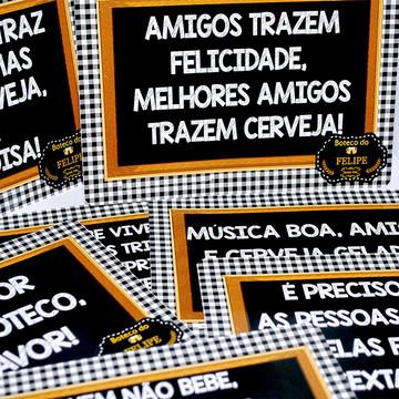 Plaquinhas divertidas para MESAS-Boteco Amarelo Preto Toalha