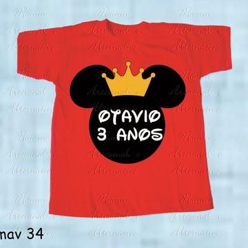 Camiseta divertida mickey minnie contorno cabeça coroa