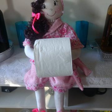 Boneca de tecido porta papel higiênico