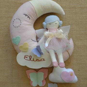 Porta Maternidade Menina Boneca Fada Lua