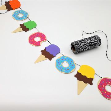 Varal de bandeirinhas Donuts e Sorvetes