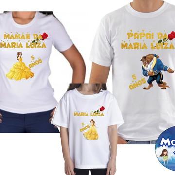 Camiseta Bela e a Fera Aniversario Com 3
