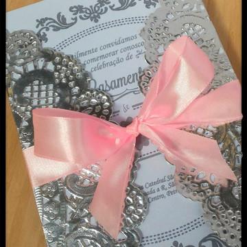 Convite de Casamento Rendado Elegante