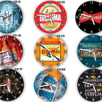 Relógios de parede estilo rustico tema bar e bebidas´- 30 cm