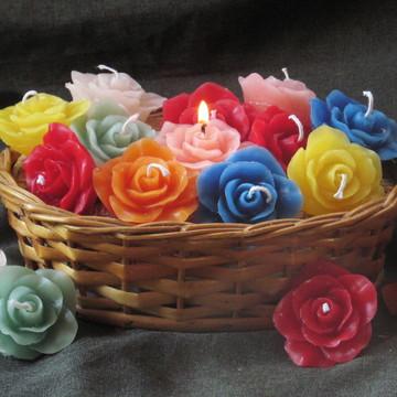 Vela Flutuante - mini rosa- 10 velas