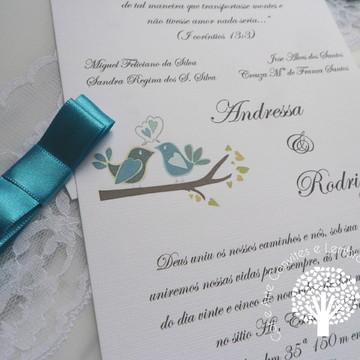 Convite de Casamento Azul em papel vegetal