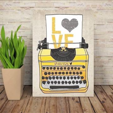 Quadro Máquina de Escrever LOVE