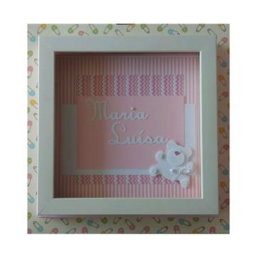 Quadro porta maternidade bebe menina rosa ursinho fofo scrap