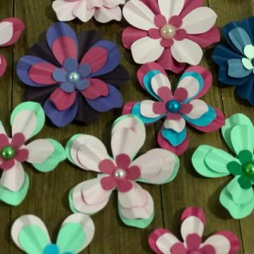 Kit 20 flores scrapbook