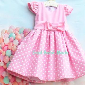 Vestido Infantil Festa Minnie Rosa