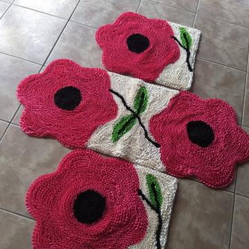 Jogo de tapetes para cozinha flores rosa