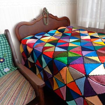 Colcha de Lã em Tricô Patchwork
