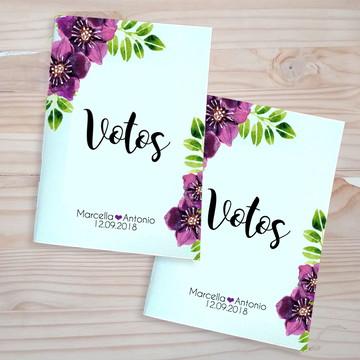 Caderninho Votos de Casamento com flores Roxa