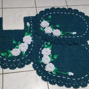 Jogo de Banheiro de Croche com 3 peças