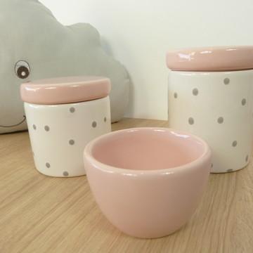 Kit Higiene Bebe Porcelana Poá Rosa e cinza
