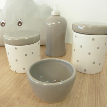 Kit Higiene Bebe Porcelana Poá Cinza