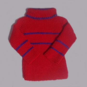 Blusa tricô à mão para criança 1 ano