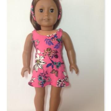 a2cd10dad8 Vestido Estampado Rosa+ sandalia + faixa de cabelo