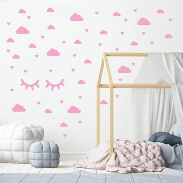 Adesivo cílios, nuvens e corações rosa