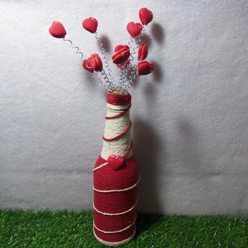 Garrafa Decorativa com Apliques de Biscuit
