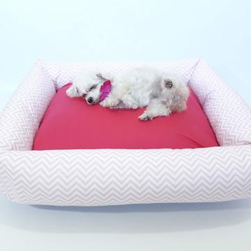 Cama para cachorro 70x60 cm - chevron rosa + pink