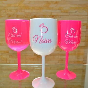 Taças de Vinho Água Team Bride e Bride