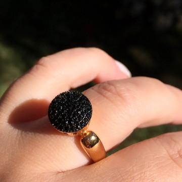 ARO 18 Anel Chuveiro Zirconia negra pavê Luxo