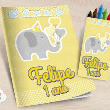 Kit colorir com giz de cera Elefantinho