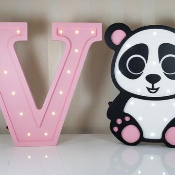 Letra luminosa + urso panda de MDF