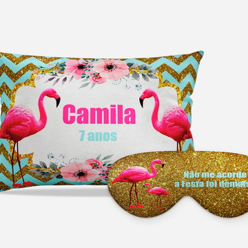 Kit festa do Pijama Flamingos dourado/tifany