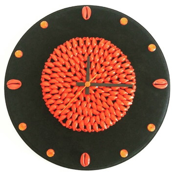 Relógio de Parede Artesanal- Búzios, Mdf aveludado 36cmx15mm