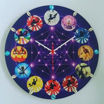 Relógio de Parede Artesanal - 12 Orixás - em Mdf -36cm x 6mm