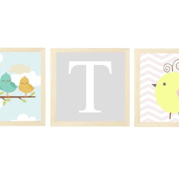 Quadros decoração menina bebe pássaro