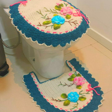 Conjunto crochê de banheiro barroco